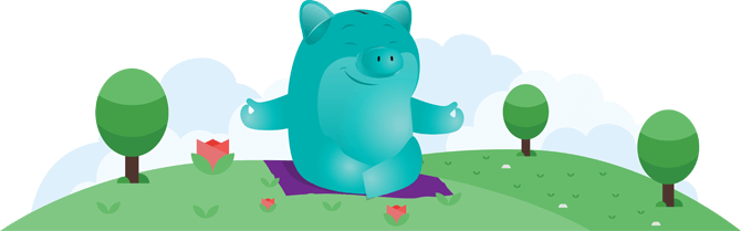 Clearpoint's mascot Penny Pincher in a yoga pose