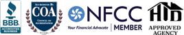 BBB, COA, NFCC, and HUD logos