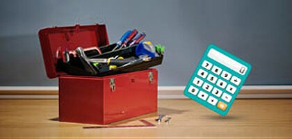 Tool box and calculator
