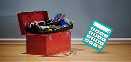 Tool box and calculator