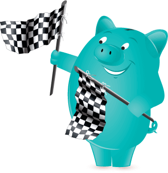 Penny Pincher waving racing flags