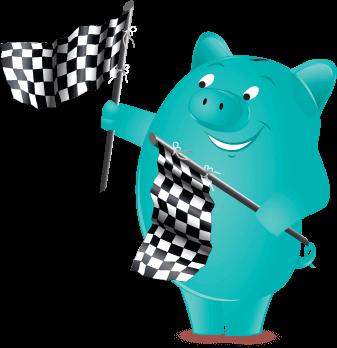 Penny Pincher waving racing flags