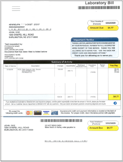 Medical Bill Example  Bill Receipt