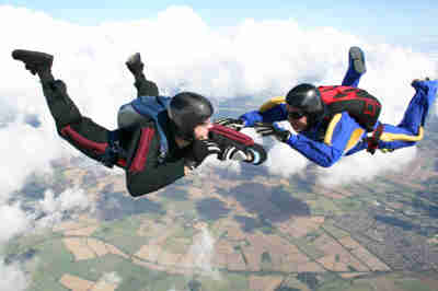 couple skydiving on an extreme date