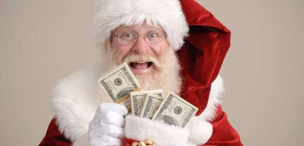 Santa Claus holding stacks of $100 bills