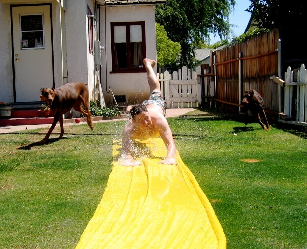 Homemade slip and slide